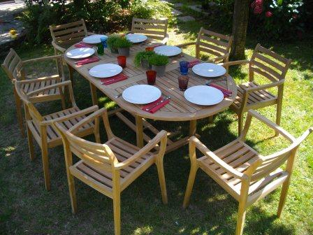 un salon de jardin en teck massif pour 8 personnes chez. Black Bedroom Furniture Sets. Home Design Ideas
